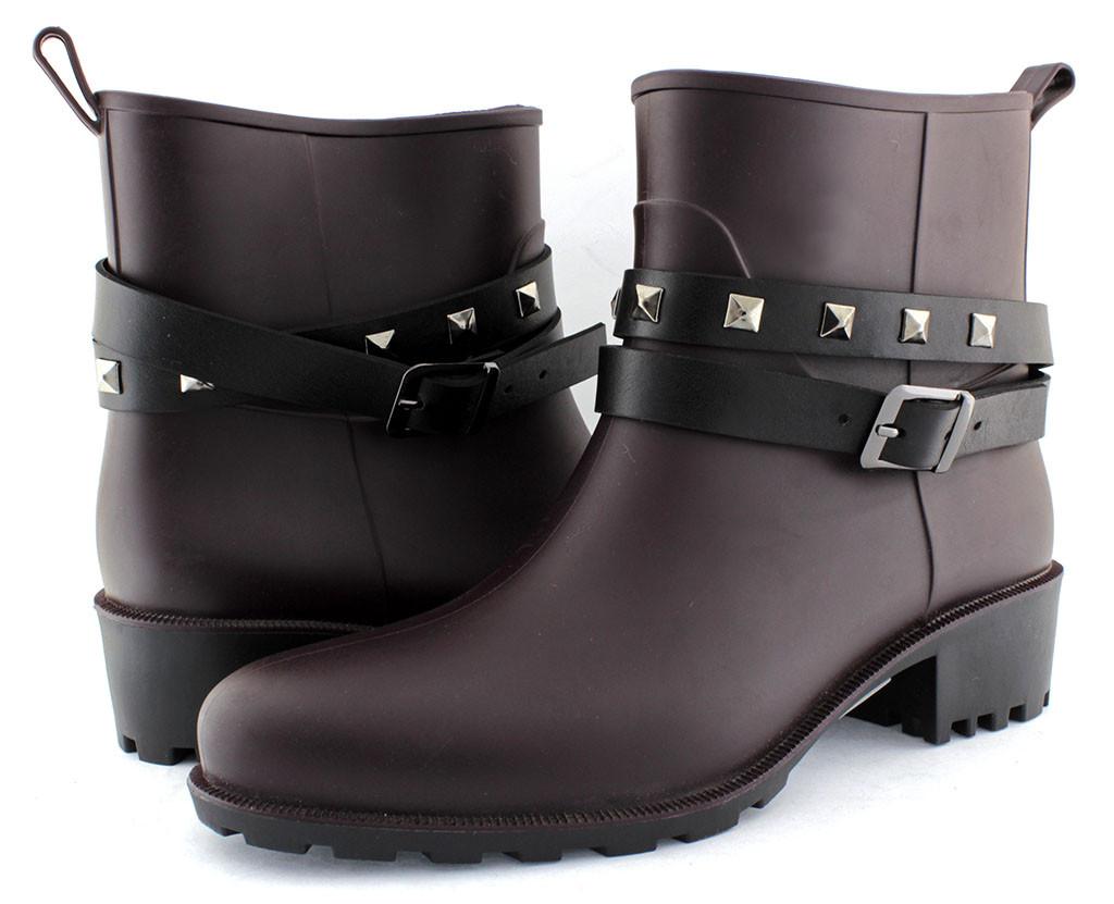 38191a024 Стильные женские резиновые ботинки, бордовые, весенние. Низкий, удобный  каблук. - Честный