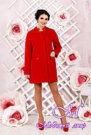 Элегантное женское демисезонное пальто красного цвета  (р. 44-62) арт. 997 Тон 49