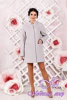 Элегантное женское демисезонное пальто светло-серого цвета  (р. 44-62) арт. 997 Тон 72