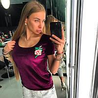 """Футболка Doratti из велюра с вышивкой """"Rose"""" разные цвета Sdor58"""