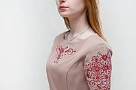 Платье с вышивкой Ориана бежевое