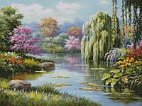 """Схема для вышивания """"Цветущий пруд"""""""
