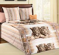 Подростковое постельное белье Тигрята, зелёный, бязь ГОСТ 100%хлопок - полуторный комплект
