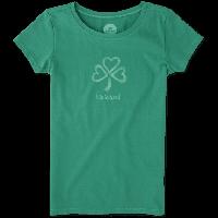 Детская футболка для девочек Life Is Good Girls Shamrock Hearts Tee