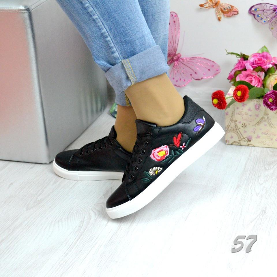 Кроссовки с вышивкой цветов