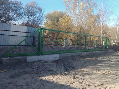 Широкие индустриальные откатные ворота, изготовление каркаса ворот для зашивки металлопрофилем