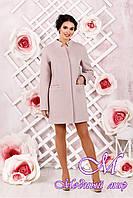 Элегантное женское демисезонное розовое пальто батал (р. 44-62) арт. 997 Тон 2