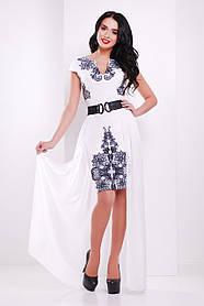 Красивое Белое платье нарядное с черным кружевом со съемной шифоновой юбкой, S  L