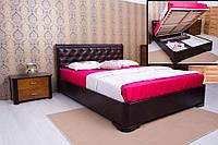 Кровать Милена с подъемной рамой, мягкая спинка ромбы 120х200, Венге темный