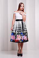 Платье лодочка с юбкой ниже колена в горошек и цветы