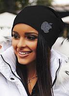 Женская трикотажная шапка чулок стразы Apple разные цвета