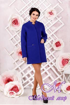 Элегантное женское демисезонное голубое пальто батал (р. 44-62) арт. 997 Тон 8, фото 2