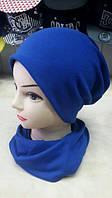 Женский набор шапка + шарф, цвет электрик