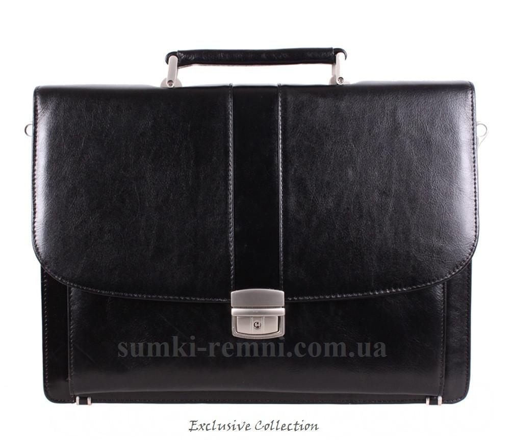 Солидный мужской портфель из натуральной кожи