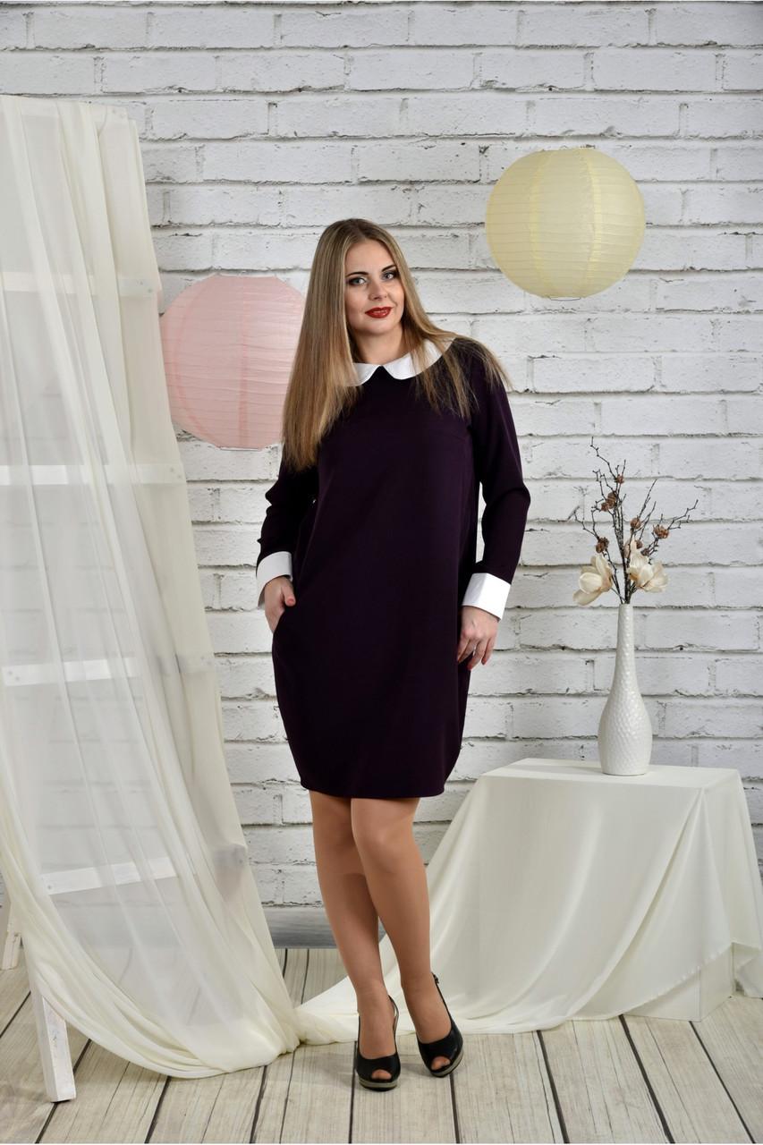 0eb0598da2969b3 Женское строгое классическое платье 0446 цвет баклажан размер 42-74 /  батальное - АЛЛО МОДА