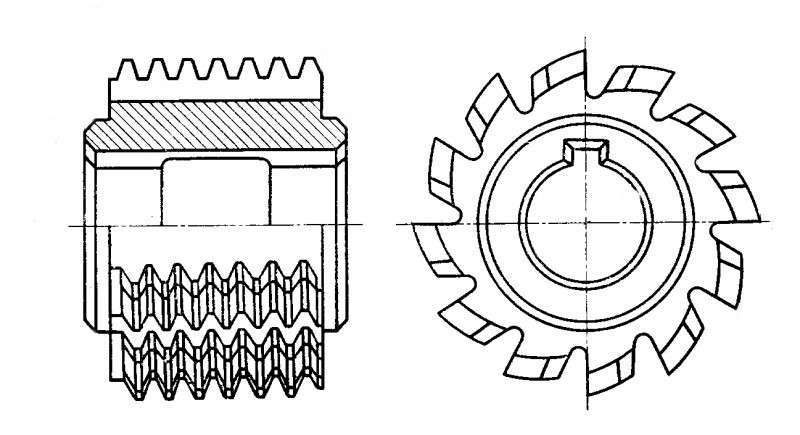 Фреза червячная модульная, двухзаходная, М 5 20° (114х90х40)