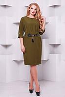 Женское нарядное коктейльное платье Тэйлор цвет оливка размер 52-58 / батал