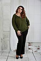 Женская блуза больших размеров 0411 цвет хакки размер 42-74