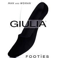 Носки-подследники хлопковые мужские и женские Guilia Footies 120, черные