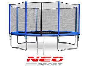 Батут NeoSport 374 см. с внешней сеткой и лесенкой, фото 2