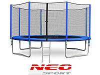 Батут NeoSport 404 см. с внешней сеткой и лесенкой