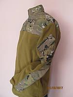 флисовая  пайта горчичного цвета со вставками из ткани мультикам рип-стоп