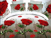 """Комплект постельного белья двуспальный 3D сатин """"Живые розы"""""""
