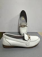 Туфли-мокасины  белые женские на плоской подошве CaRiMi
