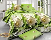 """Комплект постельного белья  Евро двуспальный, 3D """"Белые тюльпаны на салатовом"""""""