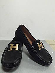 Туфли-мокасины черные без каблука замшевые женские CaRiMi