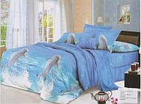 """Комплект постельного белья двуспальный 3D сатин """"Прыжок дельфина"""""""