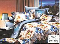 """Комплект постельного белья полуторный  3D сатин """"Пионы на голубом"""""""
