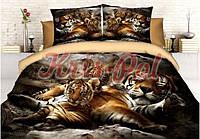 """Комплект постельного белья семейный, п/э 3D """"Семья тигров"""""""
