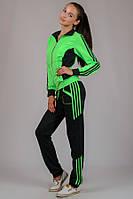Спортивный костюм женский трикотажный салатовый с лампасами на манжете (резинке) внизу Турция