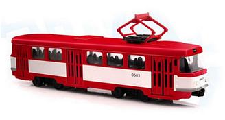 Трамвай инерционный со светом и звуком PLAY SMART 9708D говорит остановки и стишки