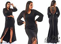 Стильное черное платье в пол с перфорацией, батал. Арт-2083/21