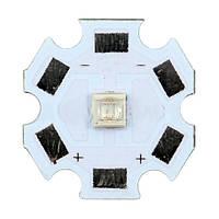 UV LED диод 365-370 nm: диаметр 20 мм, разметка полярности, служба до 50 000 ч