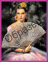 Схема для вышивки бисером «Дама с веером»