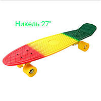 Скейт Пенни Борд Print, Penny Board Nickel 27  с рисунком 3-х цветный