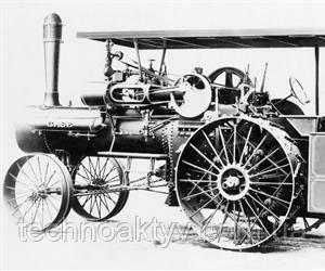 1876  Case создает первый тяговый паровой двигатель. Для управления двигателем все еще используются лошади.
