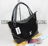 Стильная замшевая черная сумка для деловой женщины
