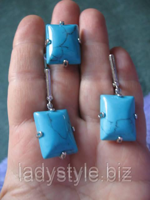 купить украшения серьги кольцо с бирюзой