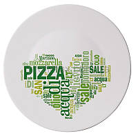 Тарелка для пиццы Bormioli Rocco серия Piatti Pizza, I Love Pizza Green (33 см)