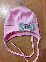 Шапочка для новорожденной, трикотаж, розовая