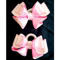 Резинка для волос Канзаши Бант бело розовый