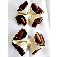Резинка для волос Канзаши Бант кремово шоколадный