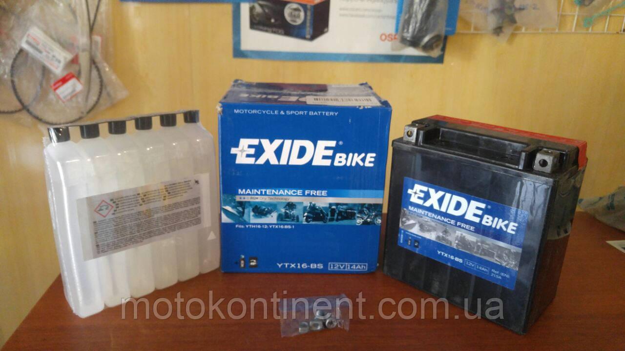 Акумулятор для мотоцикла EXIDE YTX16-BS сухозаряженный AGM 14Ah 215A150x87x161
