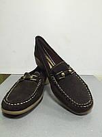 Туфли-мокасины женские натуральная замша коричневые без каблука Storm
