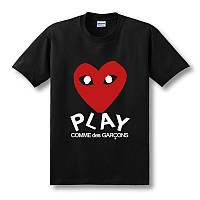 Футболка стльная | Comme des garcons play heart red logo