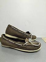 Туфли-мокасины женские кожаные коричневые без каблука Storm